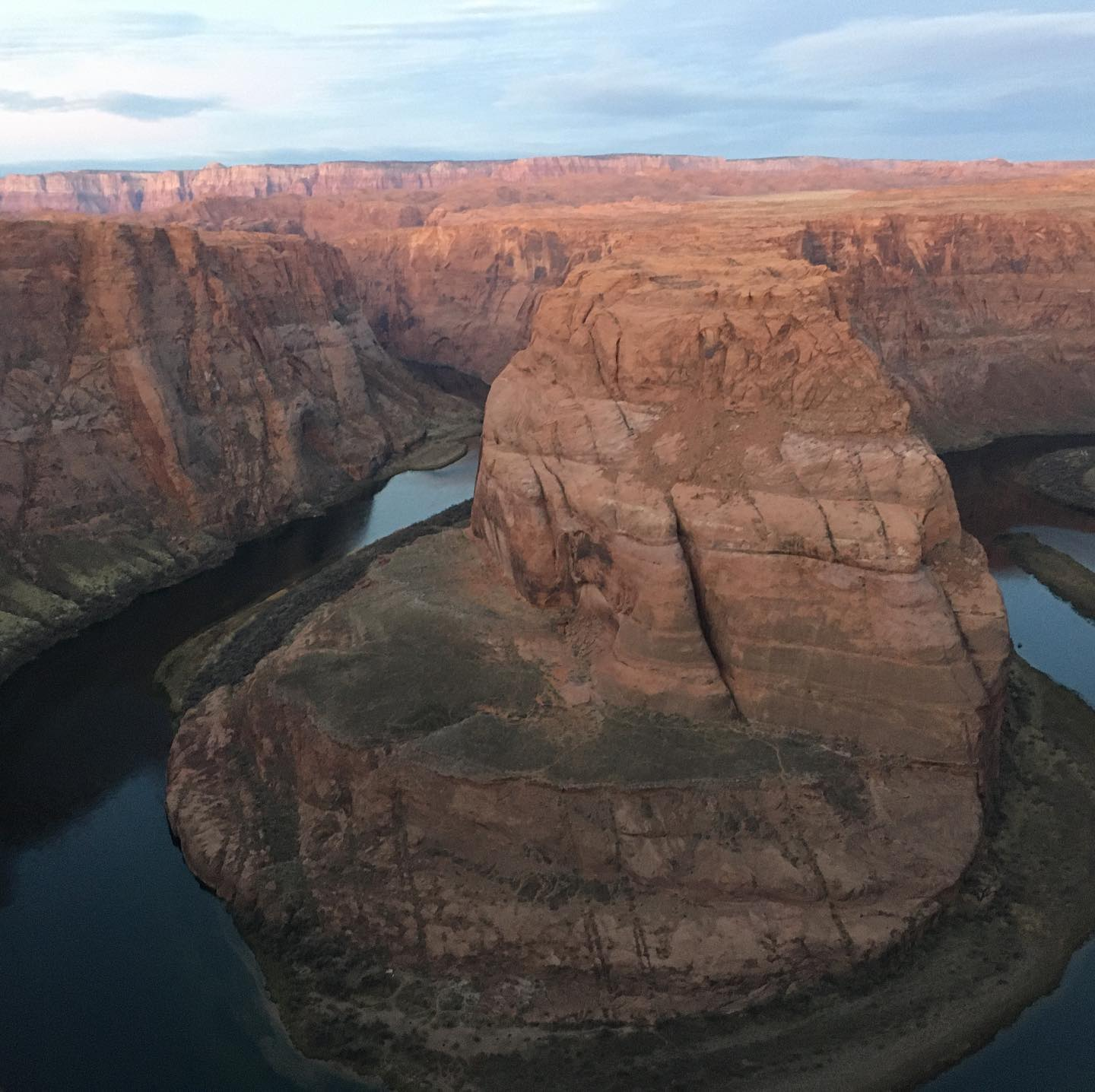 Horseshoe bend. First three pics at sunrise. Last three at sunset. Glad we got up early! #horseshoebend #latergram #pageaz #nofilter #nature #sunrise #sunset