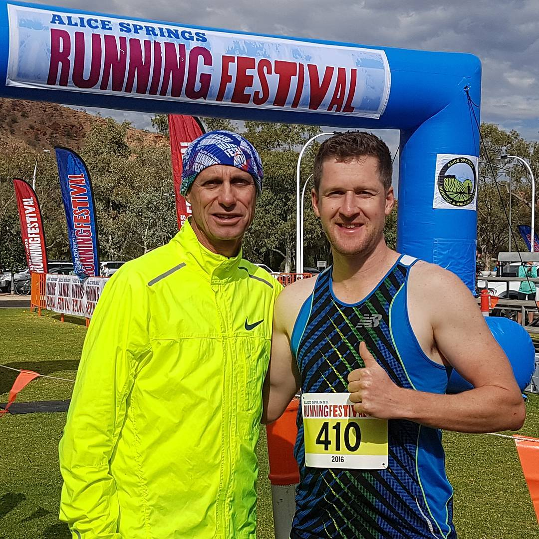 2nd Place in 5km run in 18:25 with running legend & fellow Demons supporter Steve Moneghetti  #alicespringsrunningfestival
