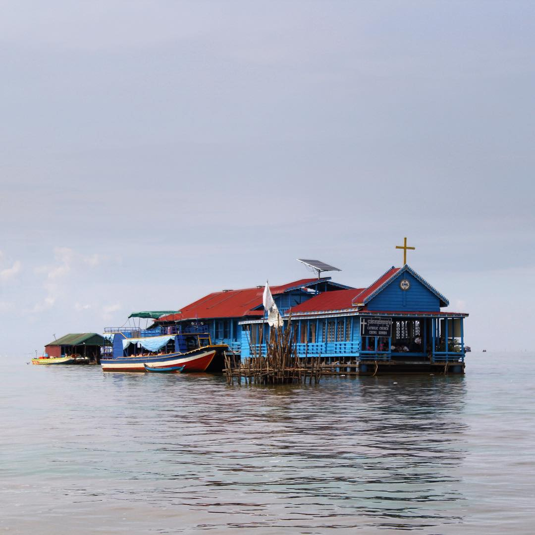 Floating Church in the middle of the floating village in Tonle Sap Lake, Cambodia #tonlesaplake #cambodia