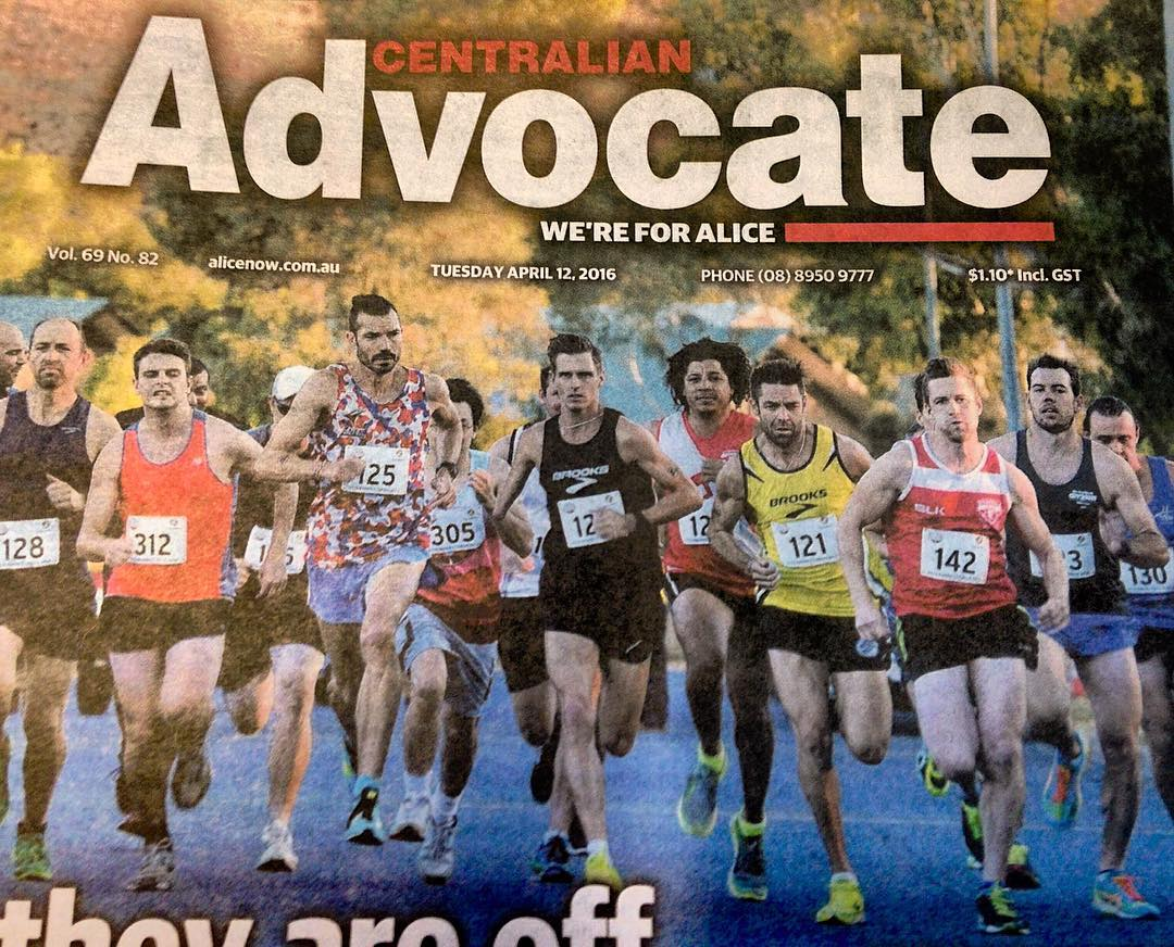 Good front page photo in the Centralian Advocate today... #barrettdrivemile #alicesprings @nitromutch