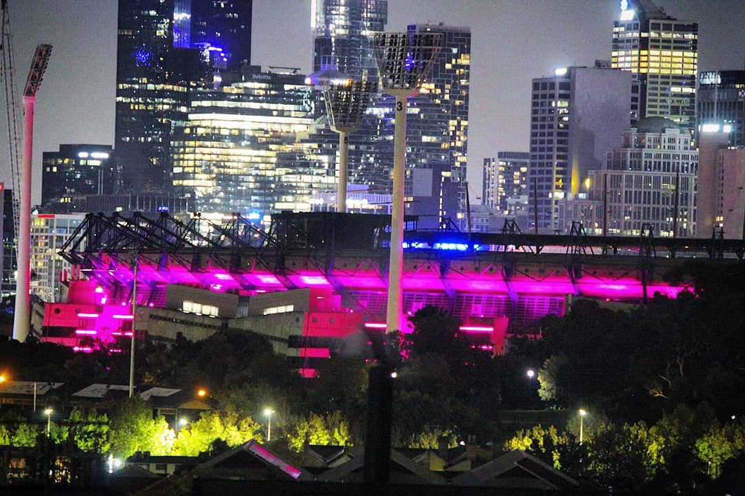 A Pink MCG lighting up the Night Skyline for Mothers Day 🎀🌸🌇 Thanks to @bcnapinklady for all of the work they do!  #mymcg #mcg #bcnapinklady #melbourneiloveyou