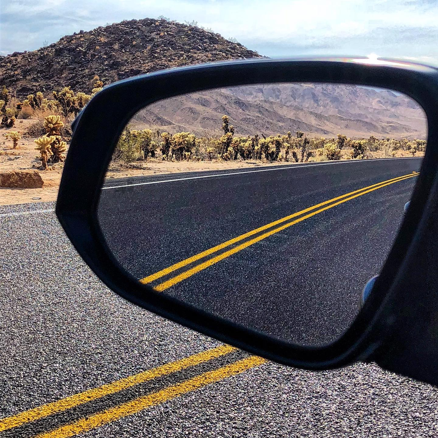 Joshua Tree NP, California Rear mirror view @joshuatreenps  We are more than ready to return to this beautiful place? Which will be your first destination after the travel ban?  #usatravel #usareisen #usatrip #california #californialove #joshuatreenationalpark #jtree #usaliebe #usalove #iloveusa #throwback #passionpassport #view #rearviewmirror #exploreamerica #mojavedesert #desertlandscape #desertlove #desertvibes #desertphotography #visitcalifornia #reisenmachtsüchtig #reiseinspiration #travelinfluencer #travelstoke #traveling #travelcalifornia #travelpics #instatraveling #exploretheworld
